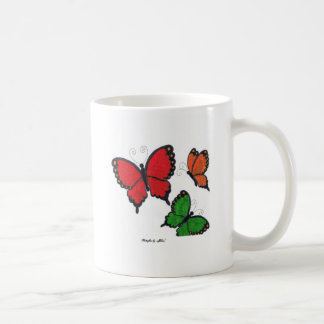 Red, orange and green butterflies mug