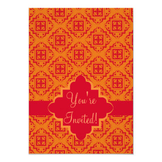 Red & Orange Arabesque Moroccan Graphic Card