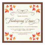 Red orange autumn leaves thanksgiving dinner 13 cm x 13 cm square invitation card