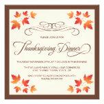 Red orange autumn leaves thanksgiving dinner custom announcement