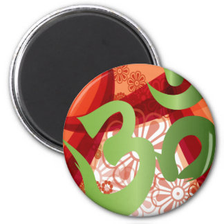 Red-Orange-Bg_Green-Om 6 Cm Round Magnet