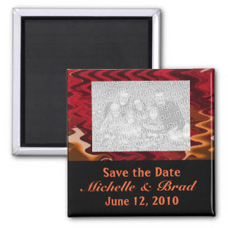 red orange black save the date square magnet