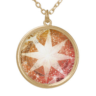 Red Orange Compass Gemstone Rhinestone Gold Plated Necklace