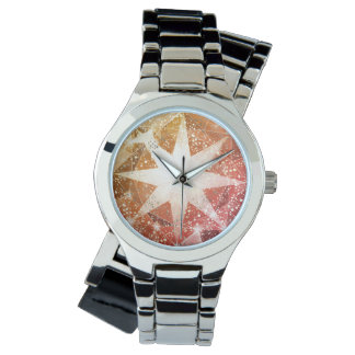 Red Orange Compass Gemstone Rhinestone Watch