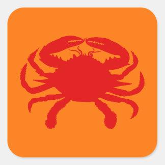 Red Orange Crab Square Sticker