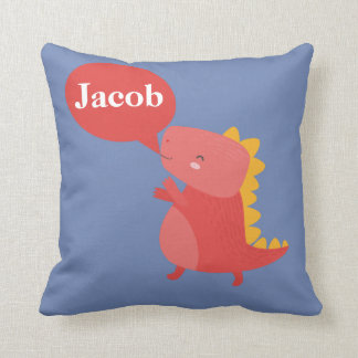 Red Orange Dinosaur Dino Reptile Personalized Name Cushion