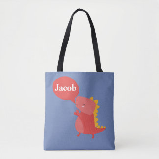 Red Orange Dinosaur Name Dino Reptile Personalized Tote Bag