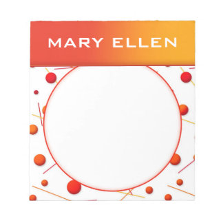 Red Orange Dots and Lines Fun Custom Notepad