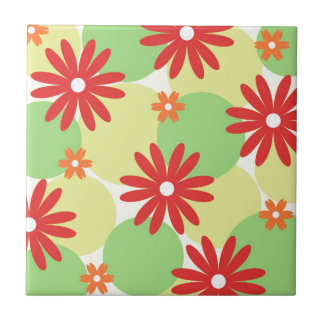 Red orange floral on green small square tile