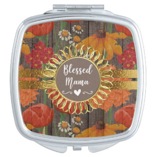 Red Orange Floral Rustic Wood Gold Blessed Mama Makeup Mirror