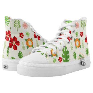 Red Orange Flowers Green Leaves on White High Tops