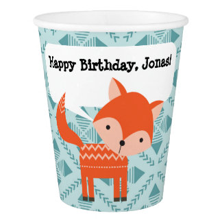 Red Orange Fox Personalized Paper Party Cup