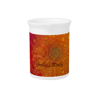 Red Orange Gerbera Daisy Pop Art Pitcher