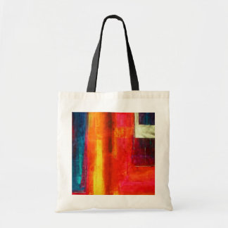 Red Orange Green Blue Color Fields Abstract Art Canvas Bag