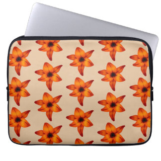Red - Orange Lily Flowers, on Tan Color. Laptop Computer Sleeves