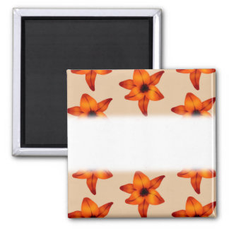 Red - Orange Lily Flowers on Tan Color Refrigerator Magnets