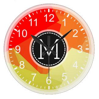 Red Orange Mosaic Modern Monogram Large Clock