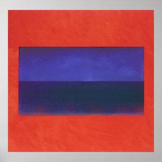 red, orange on blue.02.02 poster