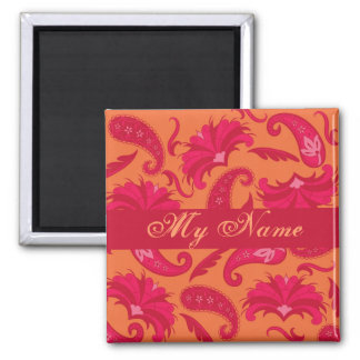 Red Orange Paisley Personalized Square Magnet
