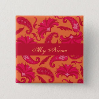 Red & Orange Parisian Paisley Name Tag Badge
