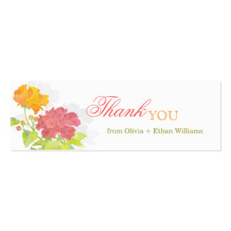 Red + Orange Peony Wedding Thank You Favor Tags Business Card Template