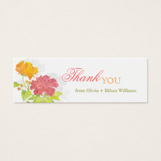 Red + Orange Peony Wedding Thank You Favor Tags Mini Business Card