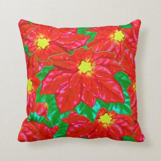 Red Orange Poinsettias Cushion
