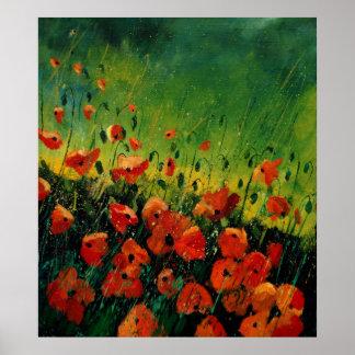 red orange poppies 67 poster
