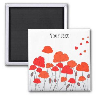 Red Orange Poppies Square Magnet