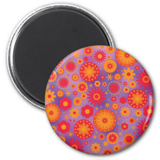 Red Orange & Purple Hippy Flower Pattern Refrigerator Magnet