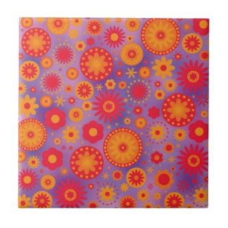 Red Orange & Purple Hippy Flower Pattern Small Square Tile