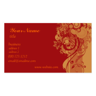 Red Orange Swirl Business Card TEMPLATE