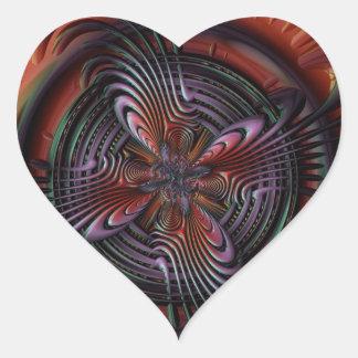 Red orange symmetric swirl fractal art heart sticker