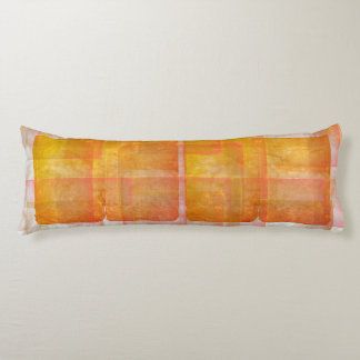 Red Orange Watercolor Silk Screen Print Pattern Body Cushion