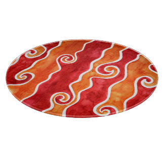 Red Orange Waves Cutting Board