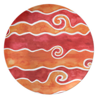 Red Orange Waves Plate