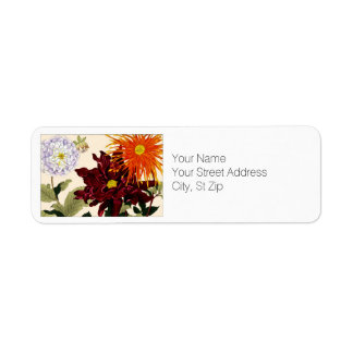 Red, Orange & White Dahlia Flowers Botanical Art Return Address Label
