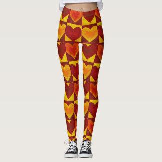 Red Orange Yellow Abstract Heart Hearts Art Print Leggings