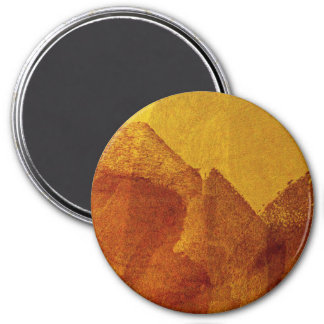 Red orange yellow abstract painting design art 7.5 cm round magnet