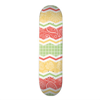 Red-Orange, Yellow, and Green Country Patterns Skate Decks