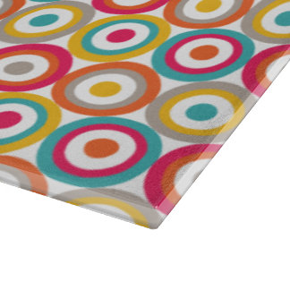 Red, Orange, Yellow, and Teal Retro Circles Cutting Board