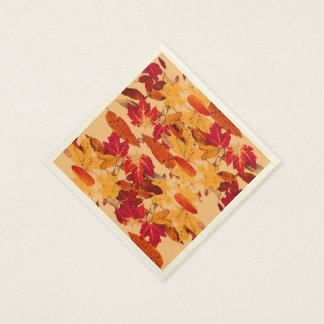 Red Orange Yellow Brown Autumn Foliage Disposable Napkin