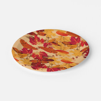 Red Orange Yellow Brown Autumn Leaves Paper Plate