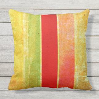 Red, Orange, Yellow & Green Stripes Outdoor Pillow