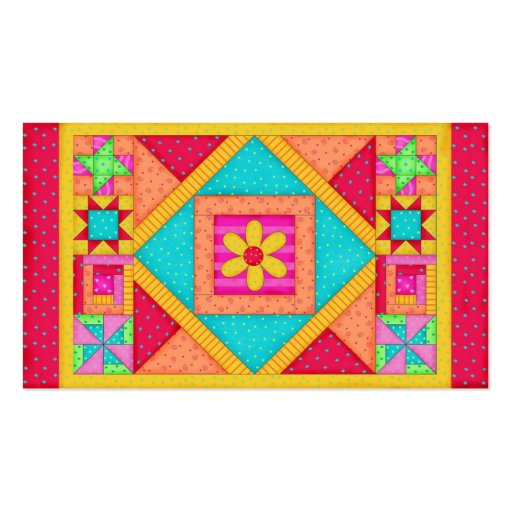 Red Orange Yellow Quilt Patchwork Block Art Business Card Templates