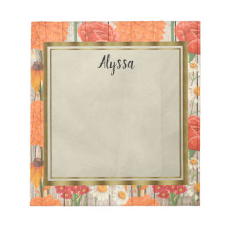 Red, Orange, Yellow White Floral on Rustic Wood Notepad
