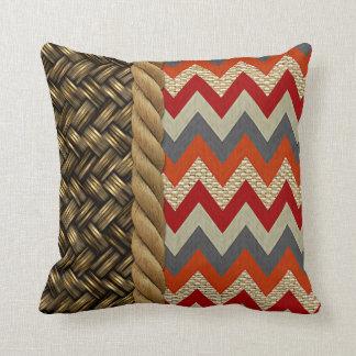 Red Orange Zigzag Faux Burlap Texture Pattern Throw Pillow