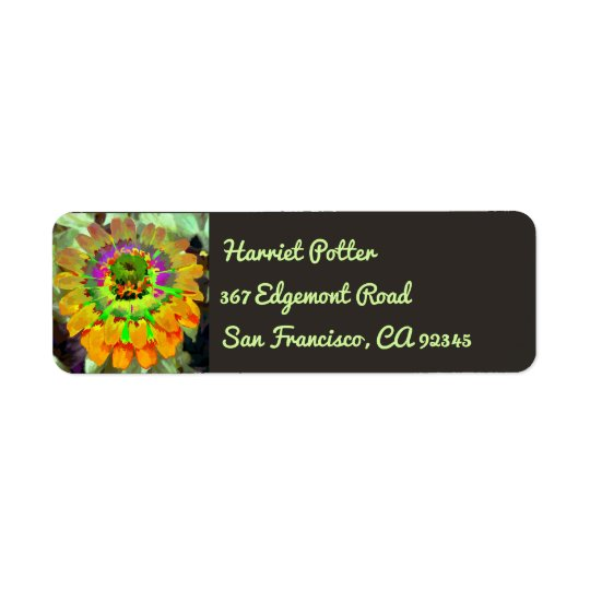 Red Orange Zinnia Watercolor Fine Floral Return Address Label