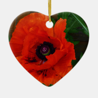 Red Oriental Poppy Ceramic Ornament
