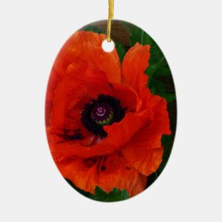 Red Oriental Poppy Ceramic Oval Decoration